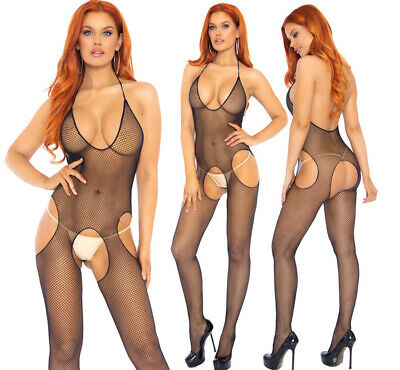 £12.95 • Buy Leg Avenue Seamless Cut Out Fishnet Halter Suspender Bodystocking/Body One Size