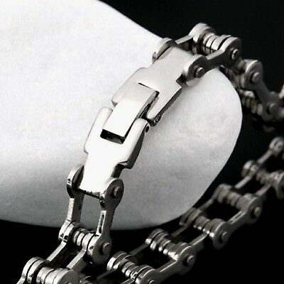 Mens Stainless Steel Bracelet Bike Chain Punk Gothic Biker Style Chrome UK STORE • 5.99£