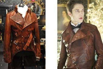 $139.99 • Buy Men's Steampunk Gothic Military Brown Distressed Leather Trench Coat Jacket
