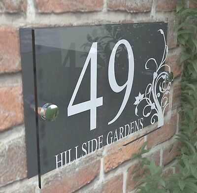 £6.99 • Buy Decorative House Door Plaque Numbers Wall Sign Name Plate  Acrylic  Dec2WA