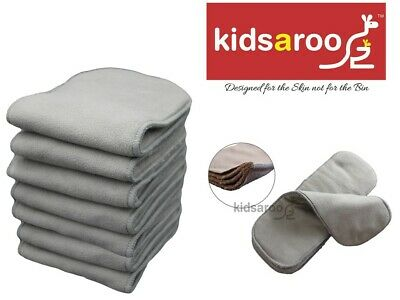 AU26.99 • Buy 7 Reusable Cloth Nappy Inserts - Charcoal Bamboo - 5 Layers - EXTRA WIDE 14.5cm