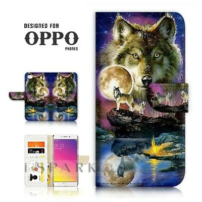 AU12.99 • Buy ( For Oppo A57 ) Wallet Case Cover P21448 Wolf