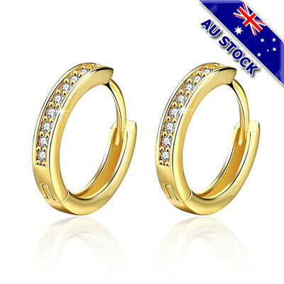 AU9.85 • Buy Elegant 18K Gold Filled CZ Crystal Huggie Hoop Earrings
