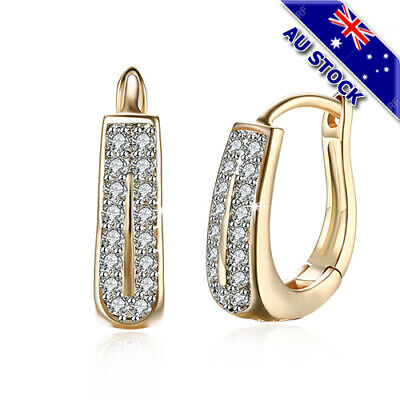 AU8.85 • Buy Elegant 18K Gold Filled Clear CZ Crystal Huggie Hoop Earrings