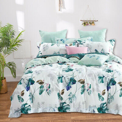 AU44.04 • Buy Cotton Floral Design Quilt Doona Duvet Covers Set Single Queen King Size Bed New