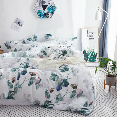 AU50.99 • Buy Cotton Floral Design Quilt Doona Duvet Covers Set Single Queen King Size Bed New