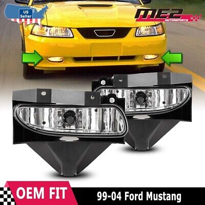 $25.12 • Buy For Ford Mustang 1999-2004 Factory Bumper Replacement Fit Fog Lights Clear Lens
