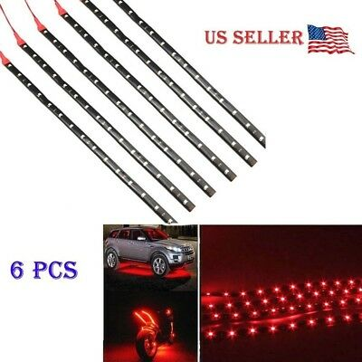 $8.55 • Buy 6 PCS Red 12V 12   Flexible LED Strip Light Waterproof IP68 For Car Truck Boat