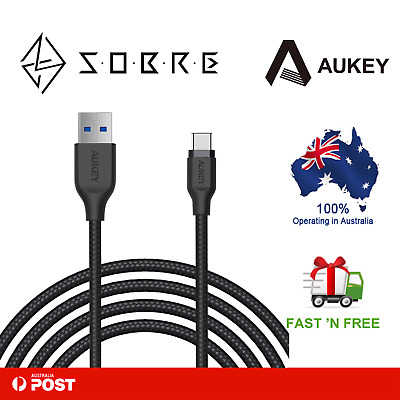 AU17.05 • Buy AUKEY USB-C To USB 3.0 Type-C Charging Cable Nylon Braided Samsung(6.6ft/2m) NEW
