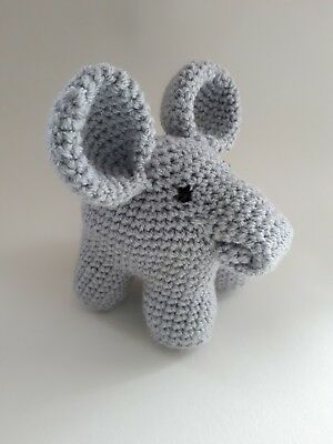 £12 • Buy Handmade Crochet Elephant Cuddly Toy Personalise Made To Order