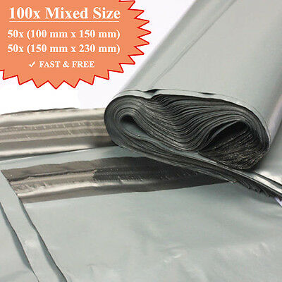 100 Plastic Grey Strong Mailing & Packaging Postal Bags Mixed Size FREE POSTAGE • 3.65£