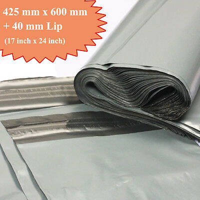 25 Very Strong Grey Mailing Packaging Plastic Bag Large 17  X 24  QUICK DELIVERY • 4.99£