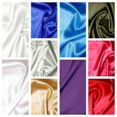 £0.99 • Buy Plain Solid Satin Stretch Fabric Material 148cm 59  Wide 11 Colours 3% Spandex