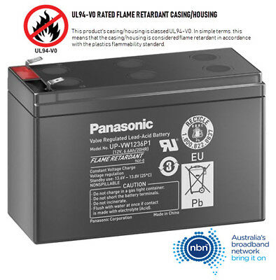 AU39.99 • Buy Panasonic NBN Telstra Power Supply Battery 12V 6 Cell VRLA Sealed Lead Acid