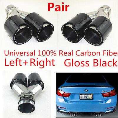 $ CDN248.73 • Buy 2x Real Carbon Fiber Car SUV Dual Exhaust Pipe Muffler End Tips 63mm-89mm Glossy