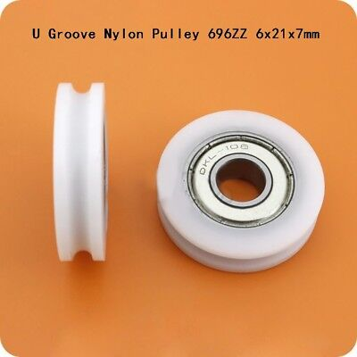 £3.45 • Buy Round U Groove Nylon Pulley Guide Wheels Roller 696ZZ 6x21x7mm Ball Bearing