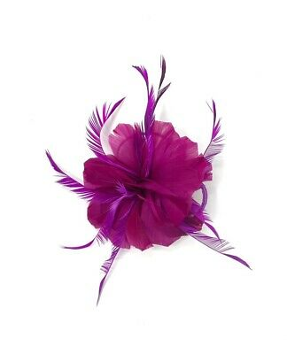 Magenta Pink Feather Fascinator Hair Clip Ladies Day Races Party Wedding • 21.99£