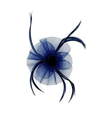 Navy Blue Feather Fascinator Hair Clip Ladies Day Races Party Wedding • 17.99£