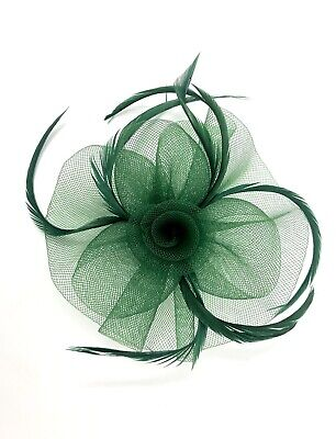 Emerald Green Feather Fascinator Hair Clip Ladies Day Races Party Wedding • 21.99£