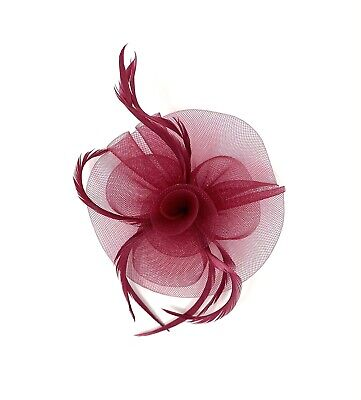 Burgundy Feather Fascinator Hair Clip Ladies Day Races Party Wedding • 18.99£