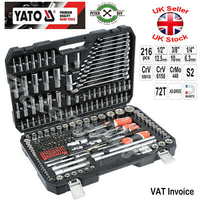 Yato Professional 216 Pcs Ratchet Socket Set 1/2 1/4 3/8 Tools Toolbox YT-38841 • 111.97£