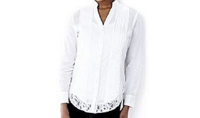 Womens Top Casual & Co Lace Hem Cotton Voile Shirt New Without Tag • 9.15£