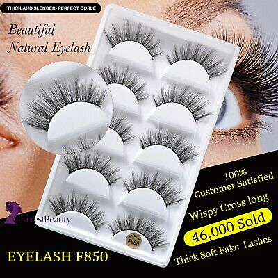 NEW 5Pair 3D Mink False Eyelashes Wispy Cross Long Thick Soft Fake Eye Lashes UK • 3.98£