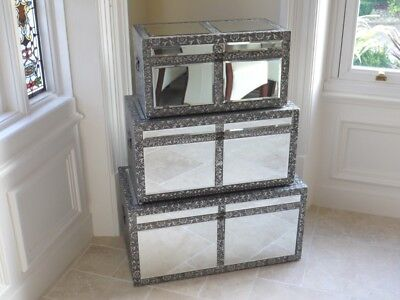 Embossed Mirror Set 3 Trunk/chest Ottoman Blanket Box Storage Coffee Table • 149£