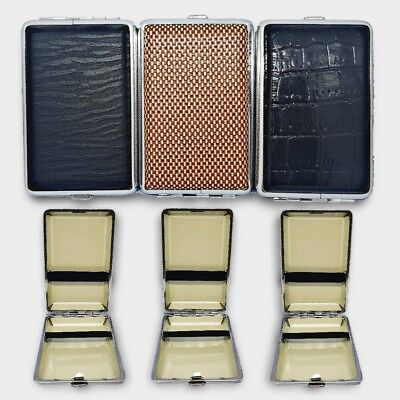 Metal Leather Cigar Cigarette Case Tobacco Holder Storage Container Pocket Box • 2.99£