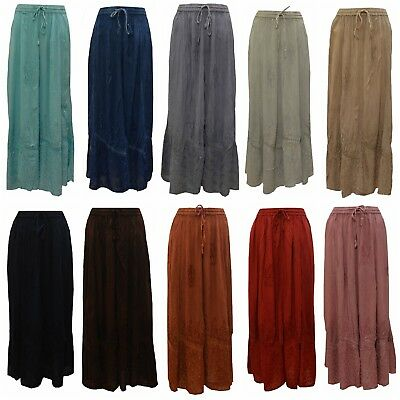 Free Size Boho Semi Lace Embroidered Tone To Tone Hippie Gypsy Skirt 10 - 22 • 9.99£