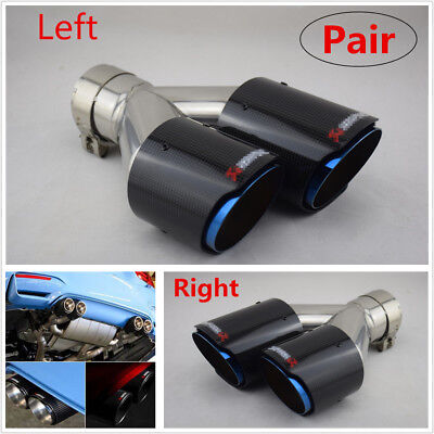 $ CDN221.76 • Buy 1 Pair Universal Left+Right Carbon Fiber Car Dual Exhaust Pipe Tail Muffler Tip