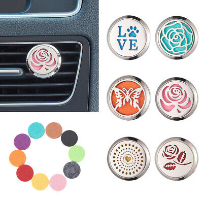 AU11.98 • Buy Stainless Steel Aromatherapy Essential Oil Diffuser Locket Clip For Car Vehicle