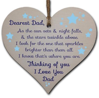 £3.49 • Buy Handmade Wooden Hanging Heart Plaque Gift To Remember Dad Loving Thoughtful Fath