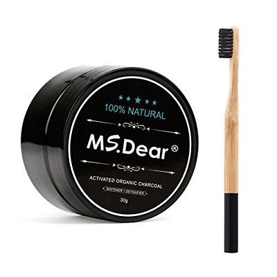 AU25.99 • Buy Natural & Organic Teeth Whitening Bamboo Activated Charcoal Powder + Toothbrush