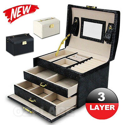 AU25.95 • Buy Jewellery Storage Box Watch Case Holder Ring Earring Necklaces Display Organizer