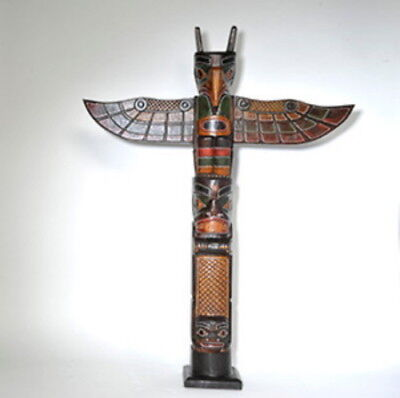 Wooden Totem Pole 100cm Hand Carved Garden Ornament Tribal Native American • 64.99£