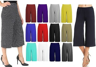 Cropped Wide Leg Culottes Trousers For Women Ladies 3/4 Length Pants Plus Size • 6.99£