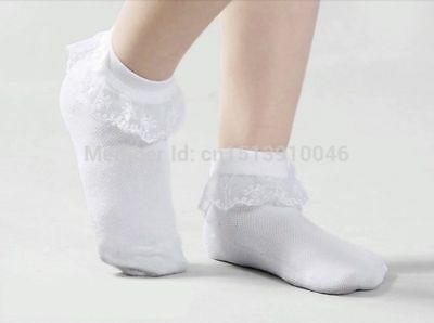 Girls Childrens Frilly Lace White Ankle Socks School Soft Cotton Rich 3 Pairs • 2.99£