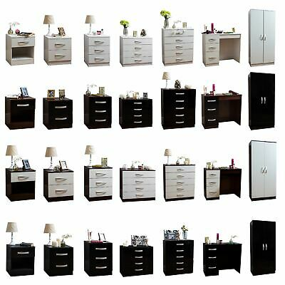 £75.95 • Buy Hulio High Gloss Bedroom Furniture Bedside Chest Of Drawers Wardrobe Table