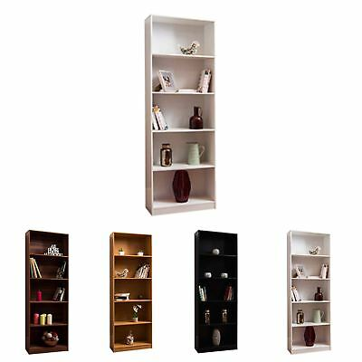 Cambridge 5 Tier XL Bookcase Display Shelving Storage Unit Stand Wooden Shelves • 48.95£