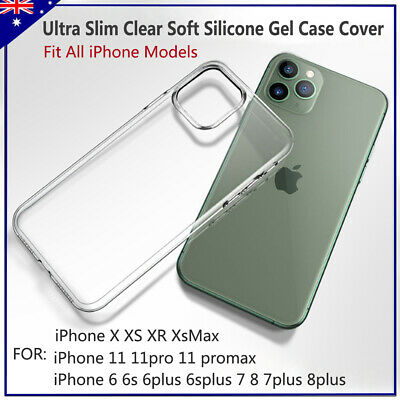 AU3.99 • Buy Ultra Slim Clear Soft Silicone Gel Case Cover For IPhone 6  7 8 PLUS X 11 XR Max