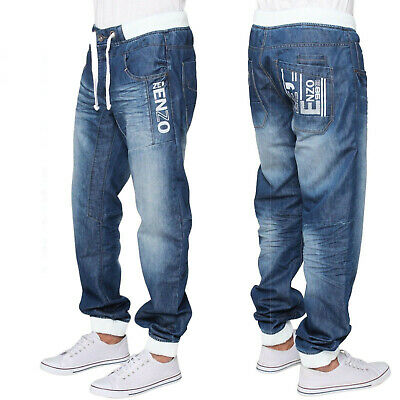Ze Enzo Mens Regular Fit Denim Joggers Casual Cuffed Jeans Pants Trousers • 24.99£