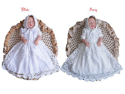 Baby Lace Christening Gown And Bonnet 0 3 6 9 12 Months Ivory White • 23.98£