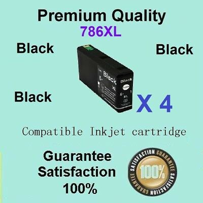 AU36 • Buy 4x Generic 786XL BLACK ONLY Ink Compatible For Epson WORKFORCE PRO WF4630 WF4640