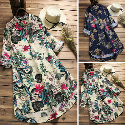 AU17.99 • Buy ZANZEA 10-24 Women Plus Size Mini Short Floral Dress Top Tee Shirt Tunic Blouse