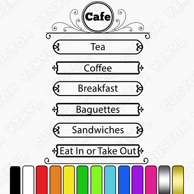 $27.60 • Buy Cafe Custom Price List, Services List, Shop Window Sign Decal