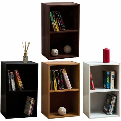 Oxford 2 Tier Cube Bookcase Display Shelving Storage Unit Wooden Stand Shelf • 14.95£