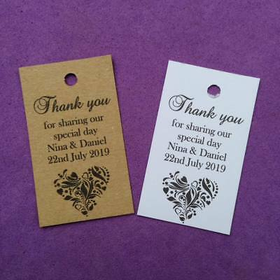 20 X Personalised Wedding Favour Tags, Christening, Hen, Gift Tags - Any Colour • 1.80£