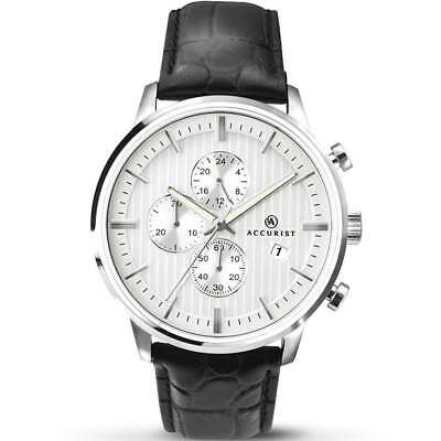£49.99 • Buy Accurist Chronograph Silver Dial Black Leather Strap Gents Watch 7032