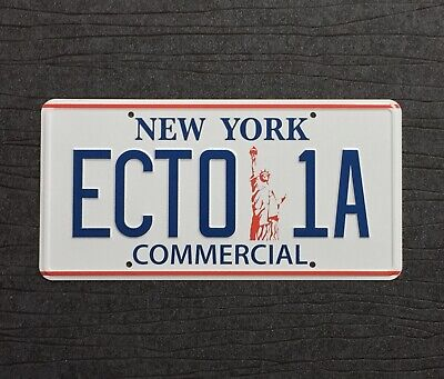 Ghostbusters 2 ECTO-1A 1959 Cadillac Hearse New York Replica Prop License Plate • 12.99£